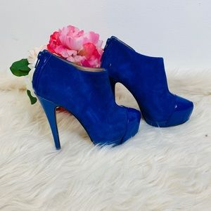 ALDO SUEDE ANKLE BOOTIES BLUE GENUINE LEATHER 6